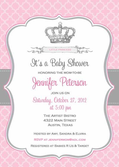 Baby Shower Invitation Princess Crown for Girl by BellePrintables - Free Baby Invitation Templates