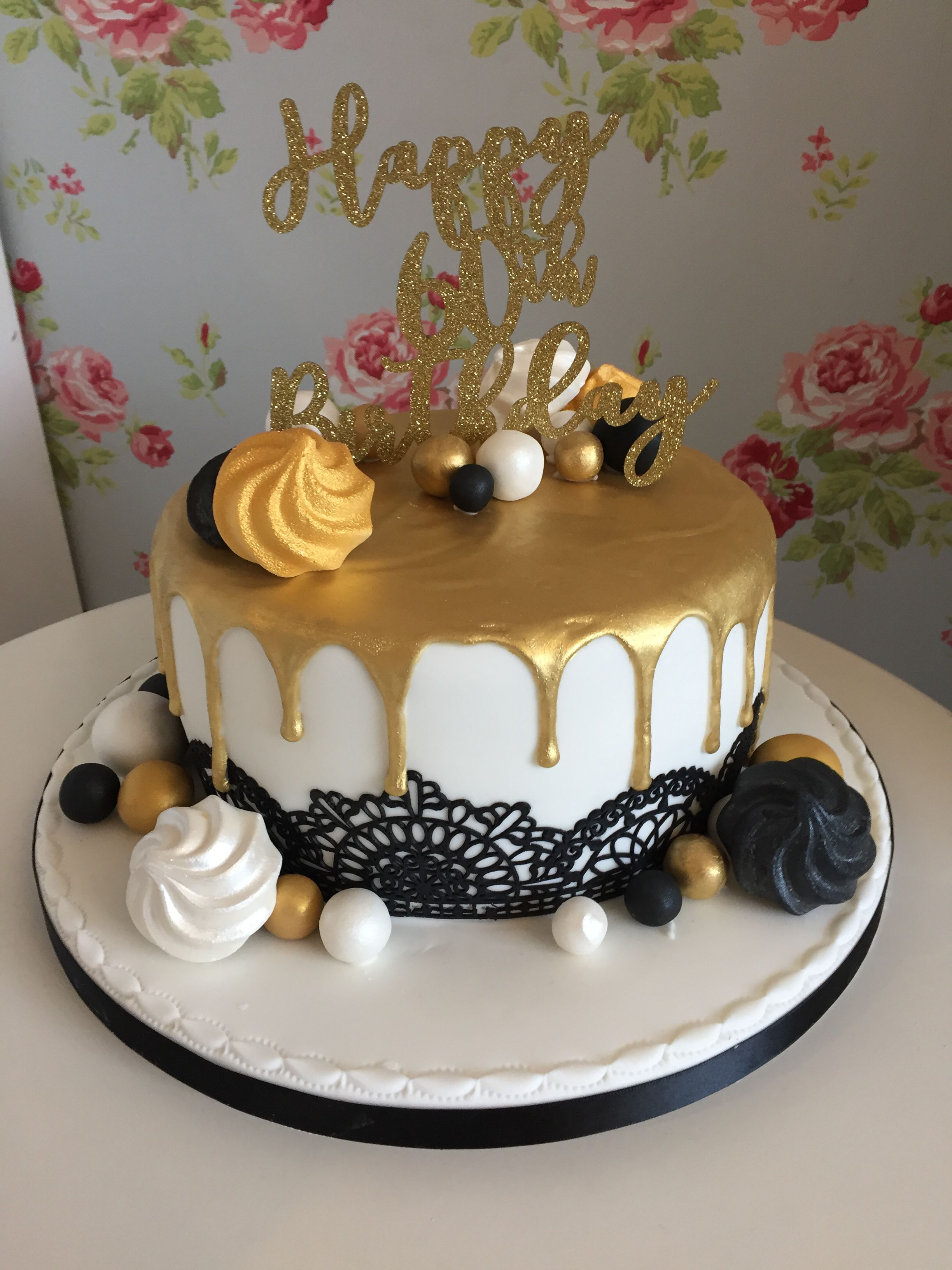 Black White And Gold Drip Cake