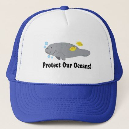 851495b4a Protect Our Oceans with Manatee Trucker Hat | Zazzle.com in 2019 ...