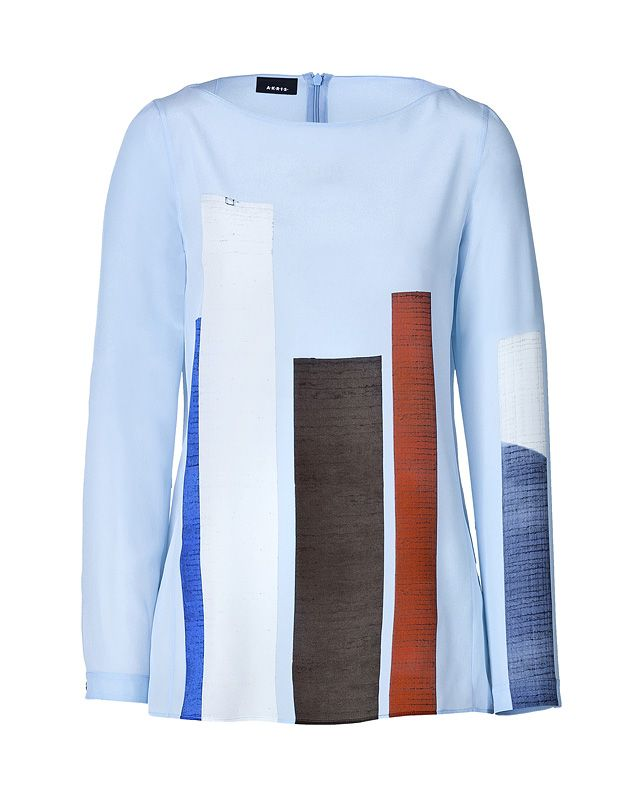 Akris silk color-block blouse