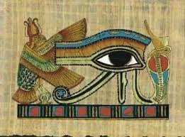 Olho de Hórus - simboliza força, poder, coragem, proteção, clarividência, saúde. Representa o olhar aberto e justiceiro de um dos deuses egípcios da mitologia: o deusHórus.