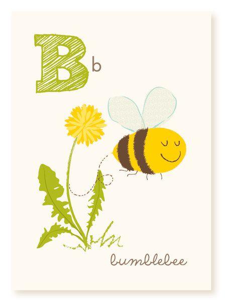 ABC card, B is for bumblebee, ABC wall art, alphabet flash cards ...