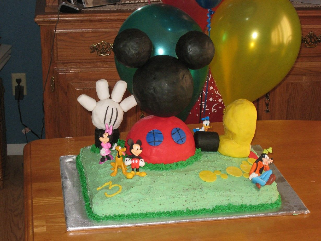 Mickey mouse club house birthday cake we made for our