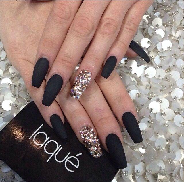 Negro mate   Uñas   Pinterest   Nail nail, Matte nails and Coffin nails