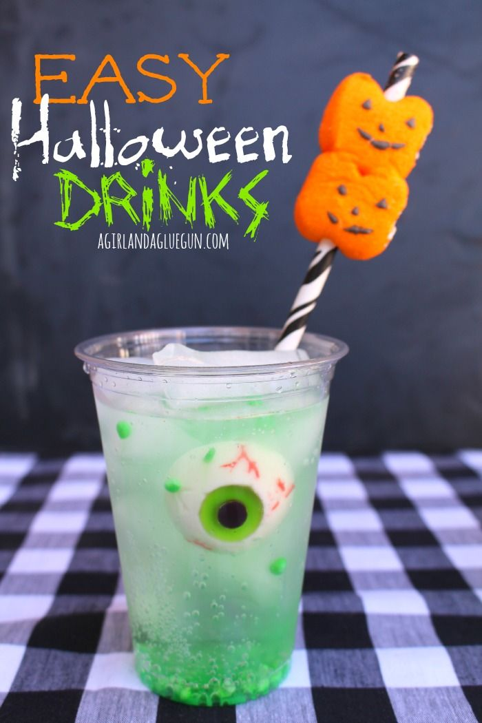 easy halloween drink with peep straws - Halloween Punch Recipes For Kids Party