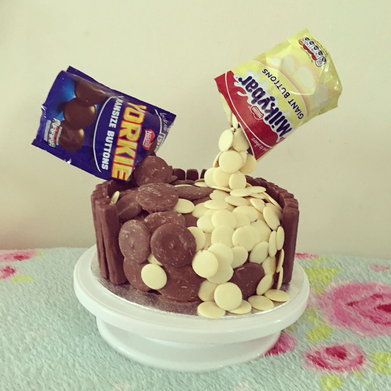 Defying Gravity Yorkie And Milky Bar Buttons Chocolate Cake Cakes