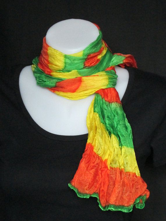 Hand painted long crinkle silk scarf  bright citrus by LushSilk