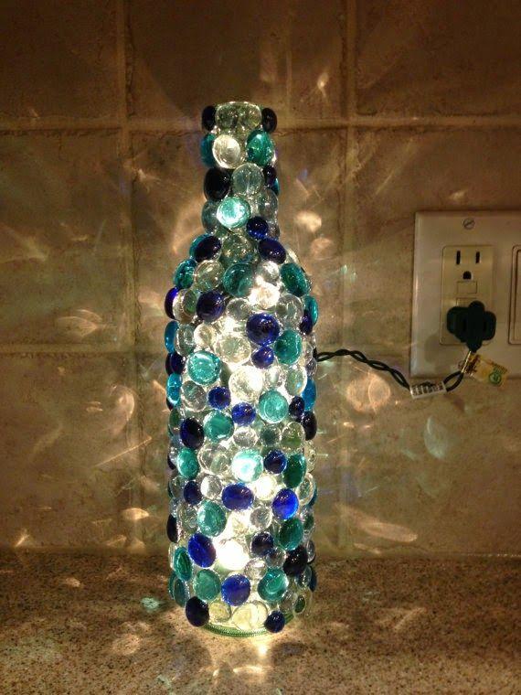 Diy Glass Bead Wine Bottle Glass Bottle Crafts Wine Bottle Art