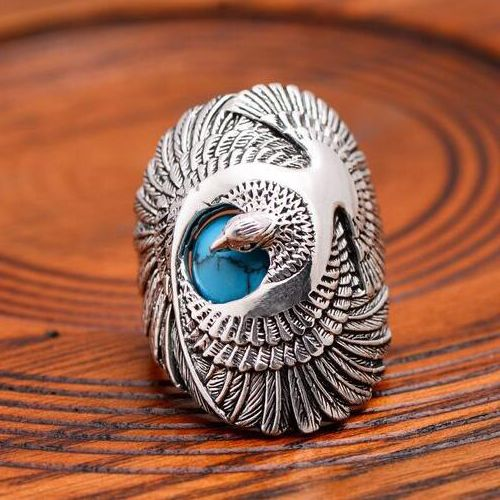 Eagle Harley Davidson Mens Womans Solid 925 Sterling Silver Mens Woman Ring