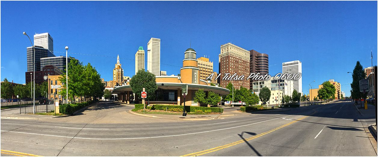 Panoramic picture of the Tulsa skyline looking east was taken in front of the bus depot. By John Shoemaker A1 Tulsa photo.