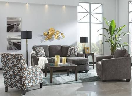 Coleman Furniture Brise Slate sofa chaise and chair set Ashley