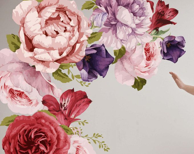 Removable Wallpaper Mural Peel Stick Vintage Watercolor Peony Wall Stickers Set