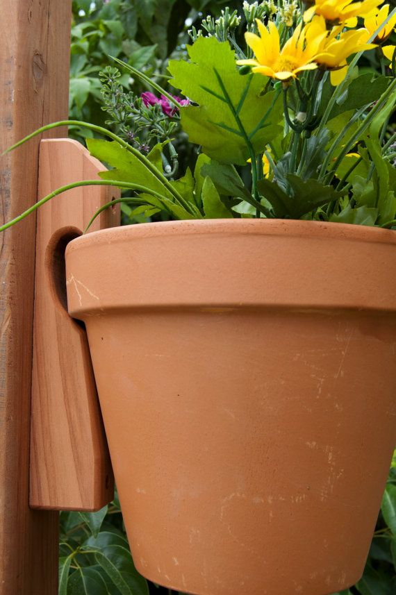 Wooden Fence or Wall Mount Clay Pot