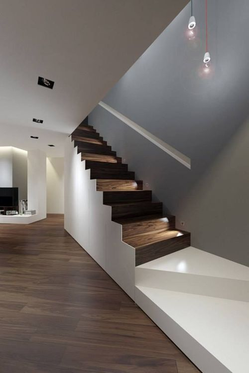 Lighting Basement Washroom Stairs: Beautiful Staircase. I Love The Contrast Between The Walls