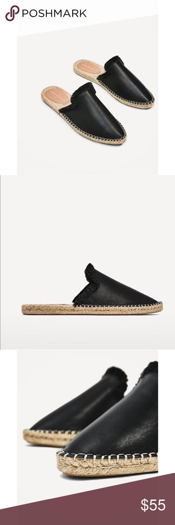 NWT Zara Black Leather Espadrille Mules