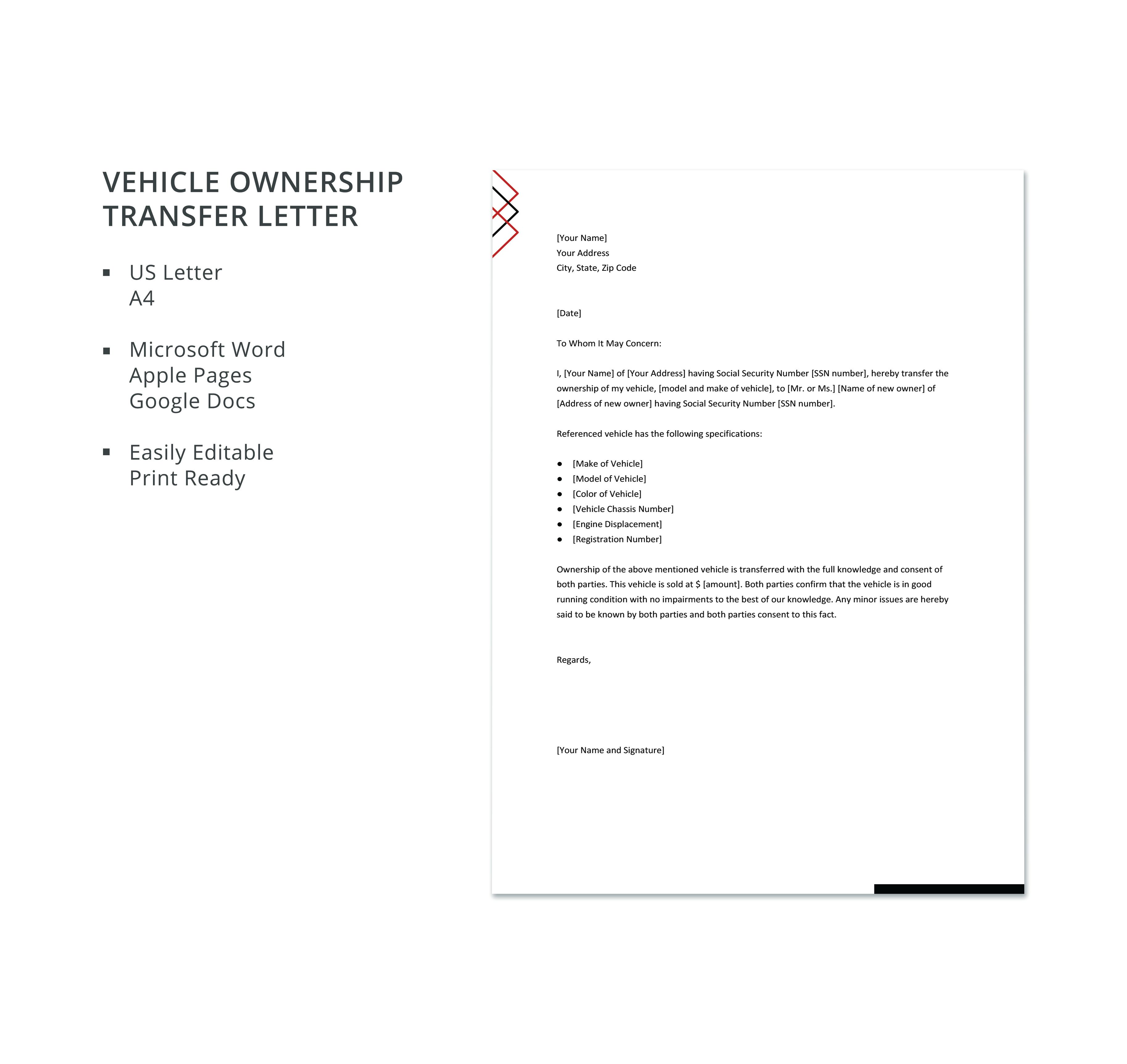 Free Vehicle Ownership Transfer Letter Lettering Word Doc Words