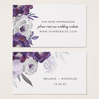 Trendy Purple Silver Fl Wedding Website Info Business Card Bridal Shower Gifts Bride Party