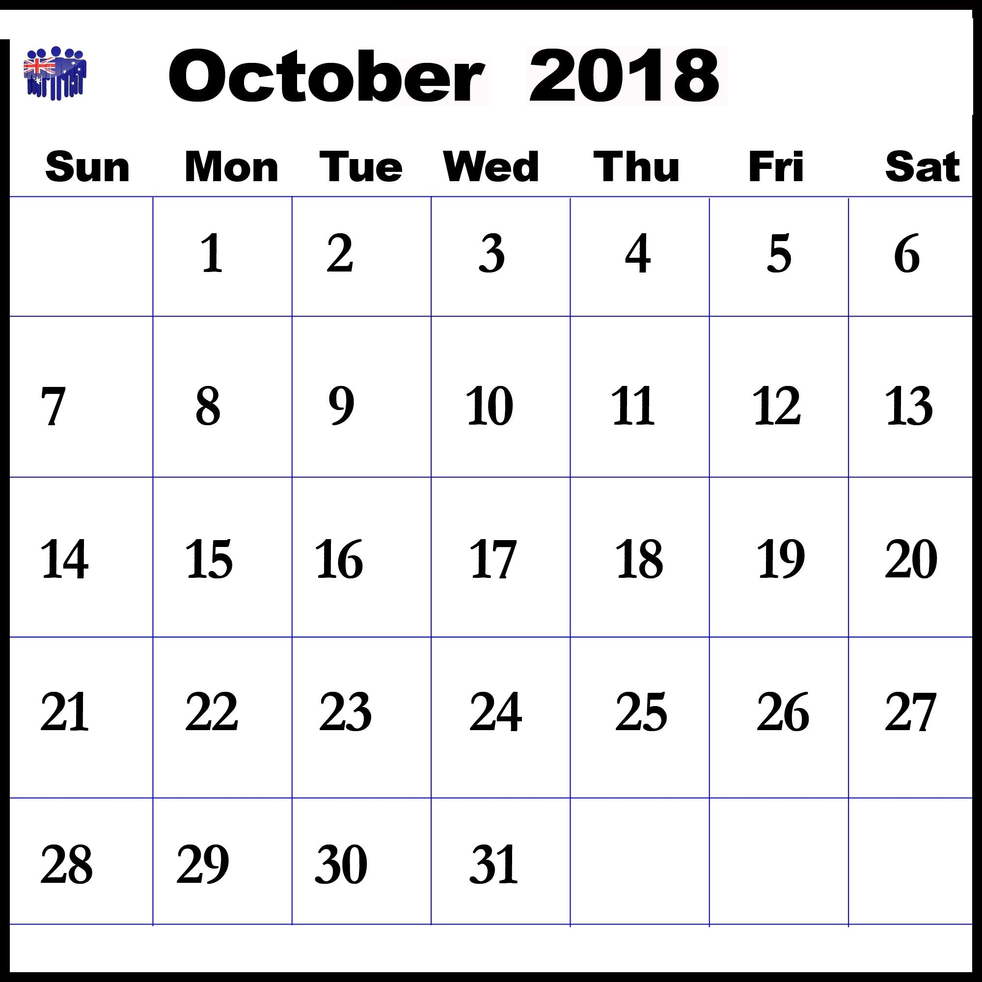 October 2018 Printable Calendar Landscape Format
