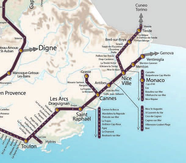 Riviera Train Map in 2019 | Train map, Train station map, Map