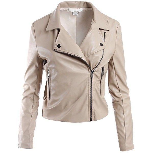 Sans Souci Taupe Vegan Leather Moto Jacket 190 Pen Liked On Polyvore Featuring Outerwear Jac Vegan Leather Jacket Vegan Leather Moto Jacket Leather Jacket