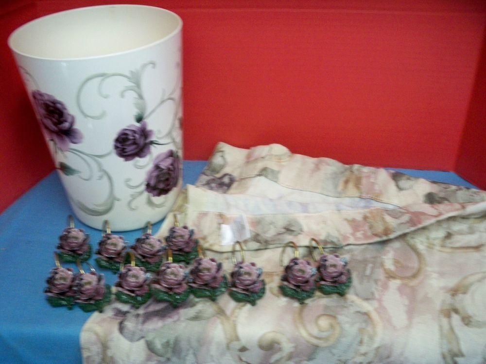 Clean A Bathroom Set croscill chambord purple roses bath set shower curtain & hooks