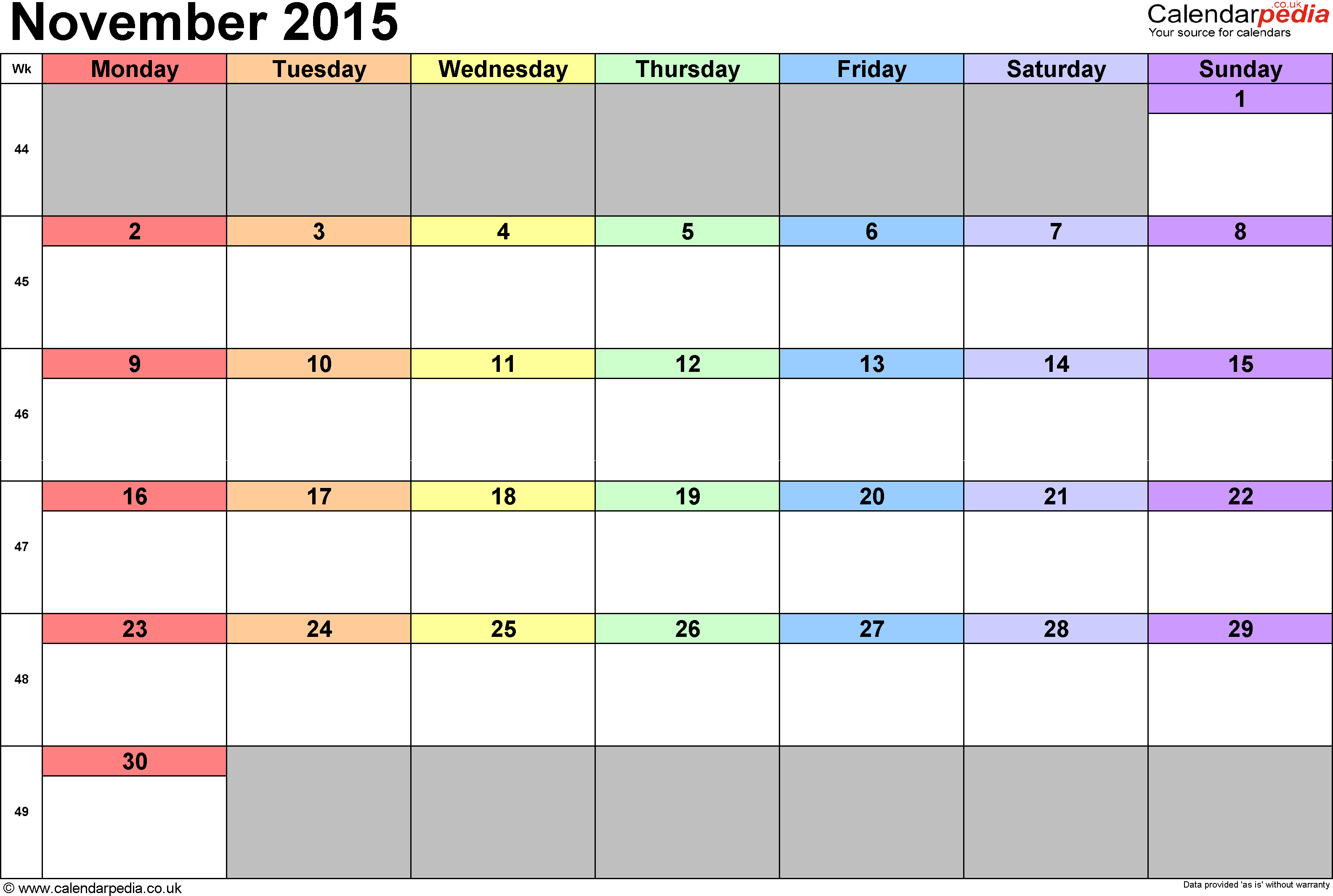 Feel Free To Download November  Calendar Holidays And November