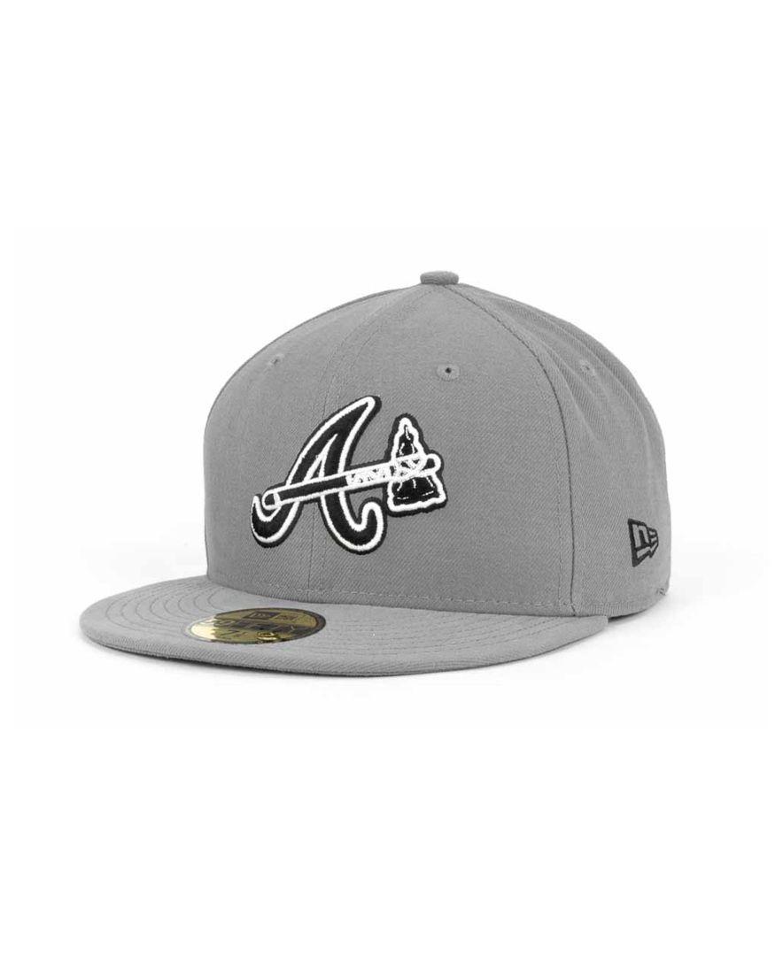 New Era Atlanta Braves Mlb Gray Bw 59fifty Cap Atlanta Braves Hat Atlanta Braves Cap