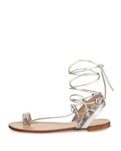 X2P30 Stuart Weitzman Lasso Metallic Lace-Up Gladiator Sandal, Pearl