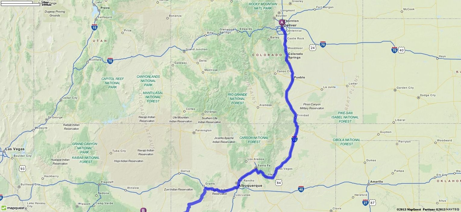 Driving Directions from Denver, Colorado to Show Low ...