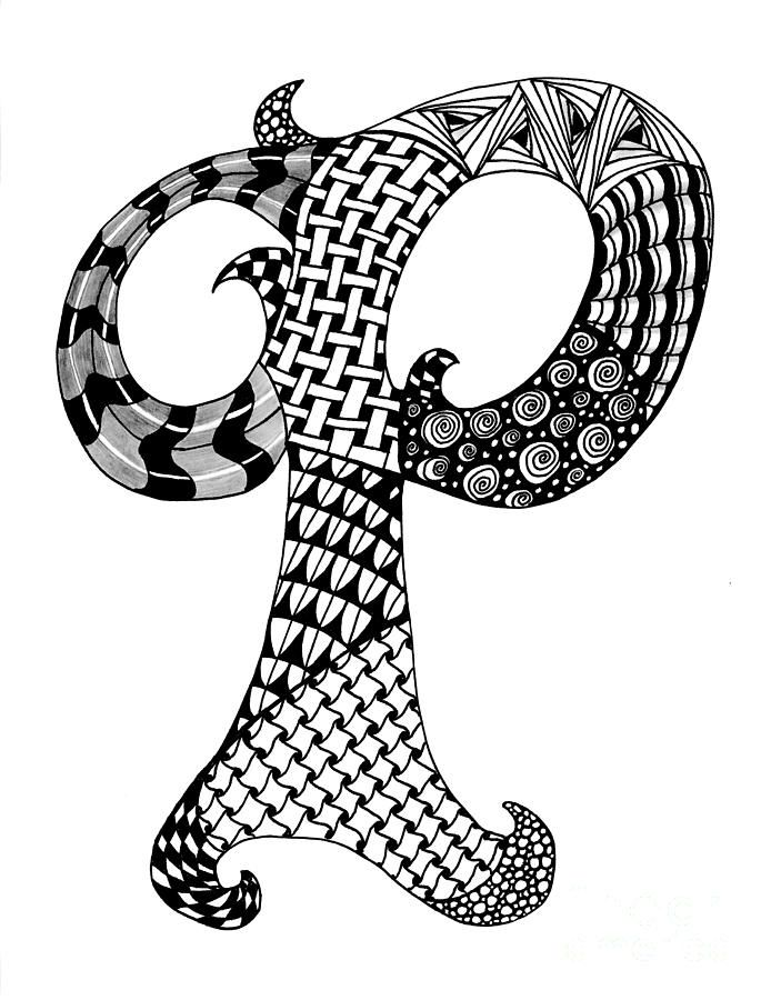 zentangle coloring pages letter n | Zentangle Letter P Monogram In Black And White Drawing ...