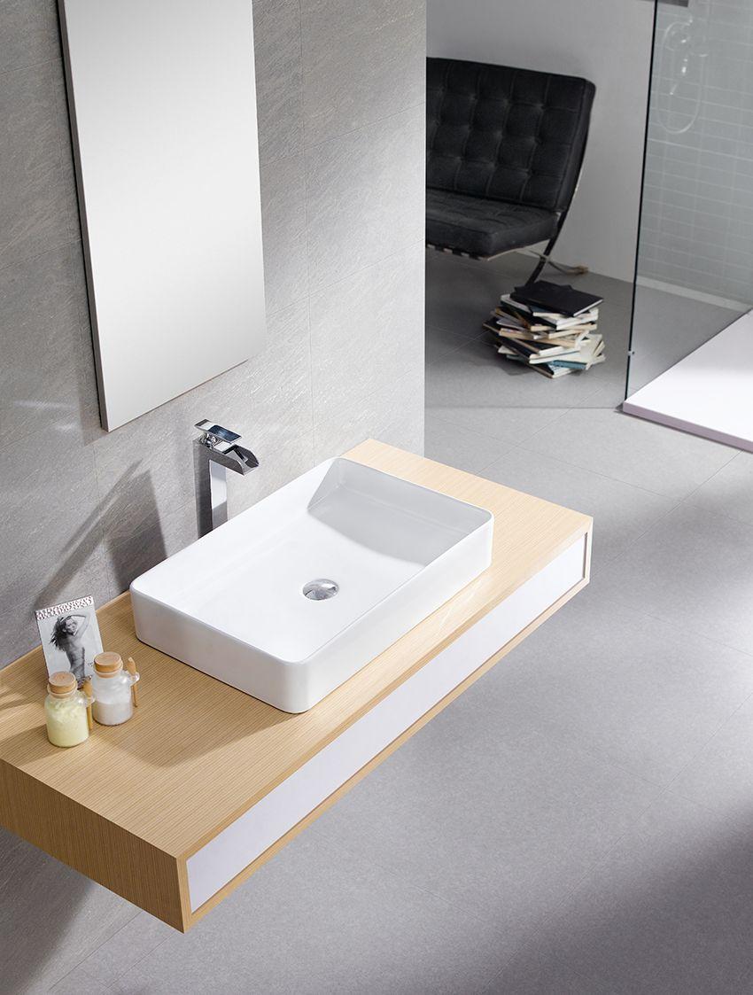Nilo 60 Lavabo Sobre Encimera Porcelana Blanca Lavabo Sin  ~ Lavabos De Diseño Sobre Encimera