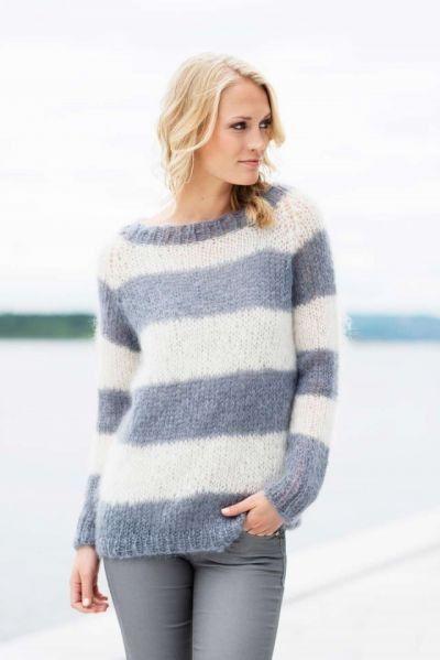 Strikk en stilig og stripete Acne-inspirert genser med raglanfelling! - av  Tusen Ideer #strikkeoppskriftgenser