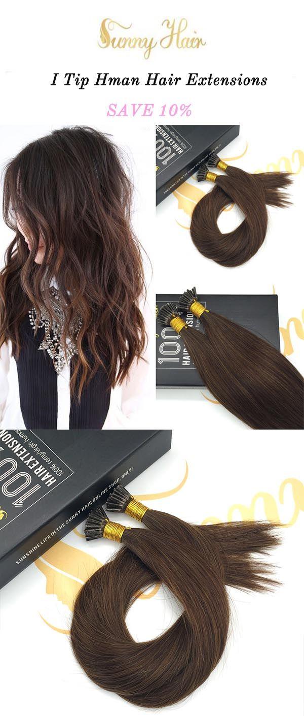 Sunny Hair I Tip Hair Extensions 100 Remy Human Hair Brown Hair