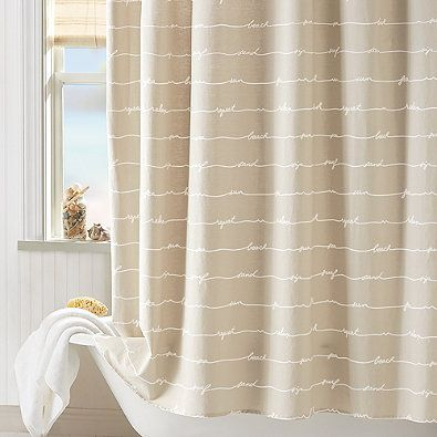 Coastal Living Sand Script Shower Curtain In Natural 29 99