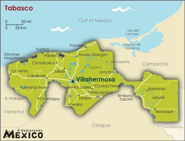 Mapa De Tabasco   de mapas para mapas de estados mexicanos