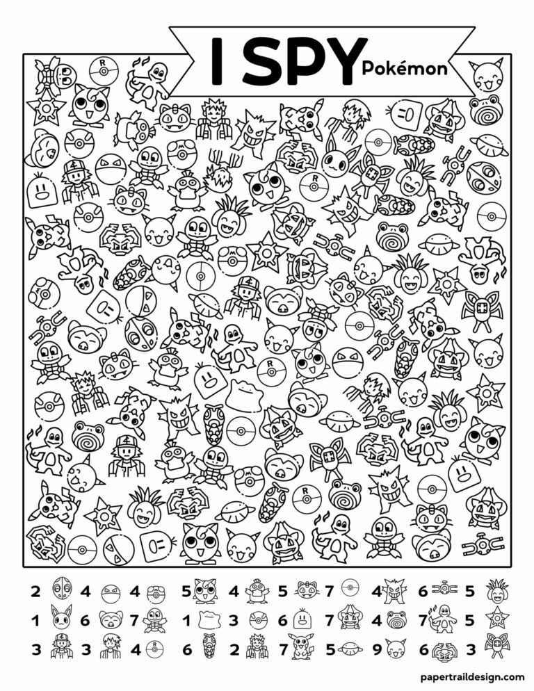 Free Printable I Spy Pokémon Activity Paper Trail Design In 2020 Activity  Sheets For Kids, Business For Kids, I Spy