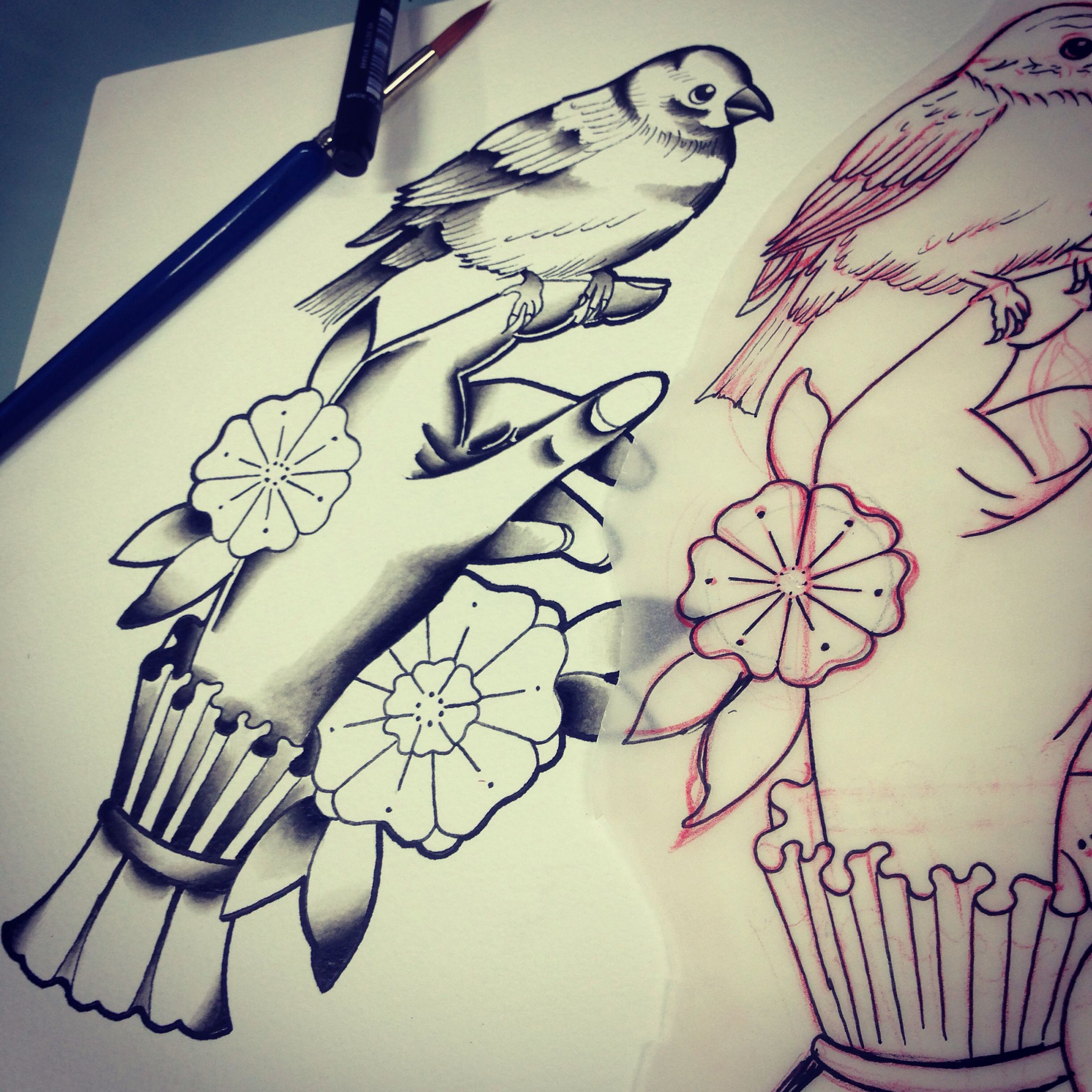 Image Result For Hand Holding Bird Tattoo Black Grey