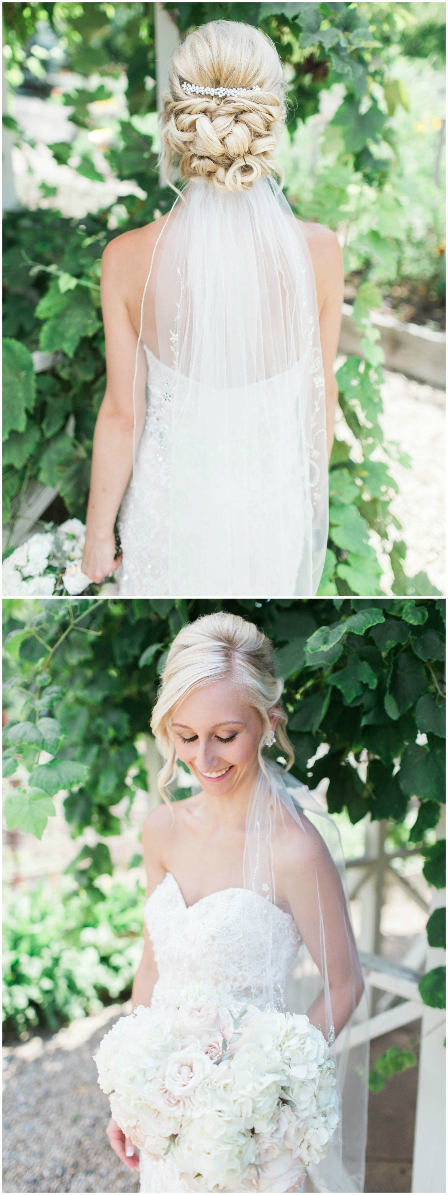 Wedding hairstyle, romantic bridal up-do, bridal veil ideas, curled ...