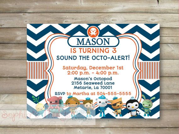 Octonauts Invitation Octonauts Birthday by SophiasThings on Etsy