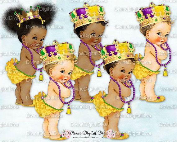 3 Skin Tones Clipart Instant Download Vintage Baby Boy Mardi Gras Little Prince Gold Purple Green Gems Crown Tassel