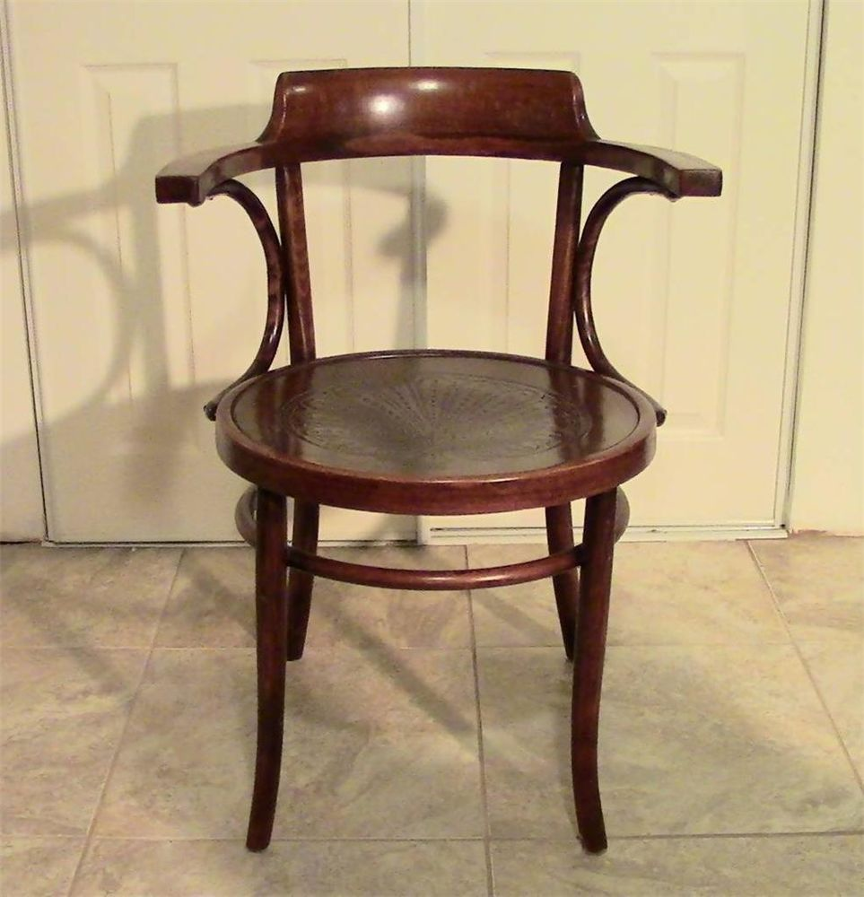 VINTAGE BENTWOOD ARM CHAIR WITH GORGEOUS PRESSED PATTERN