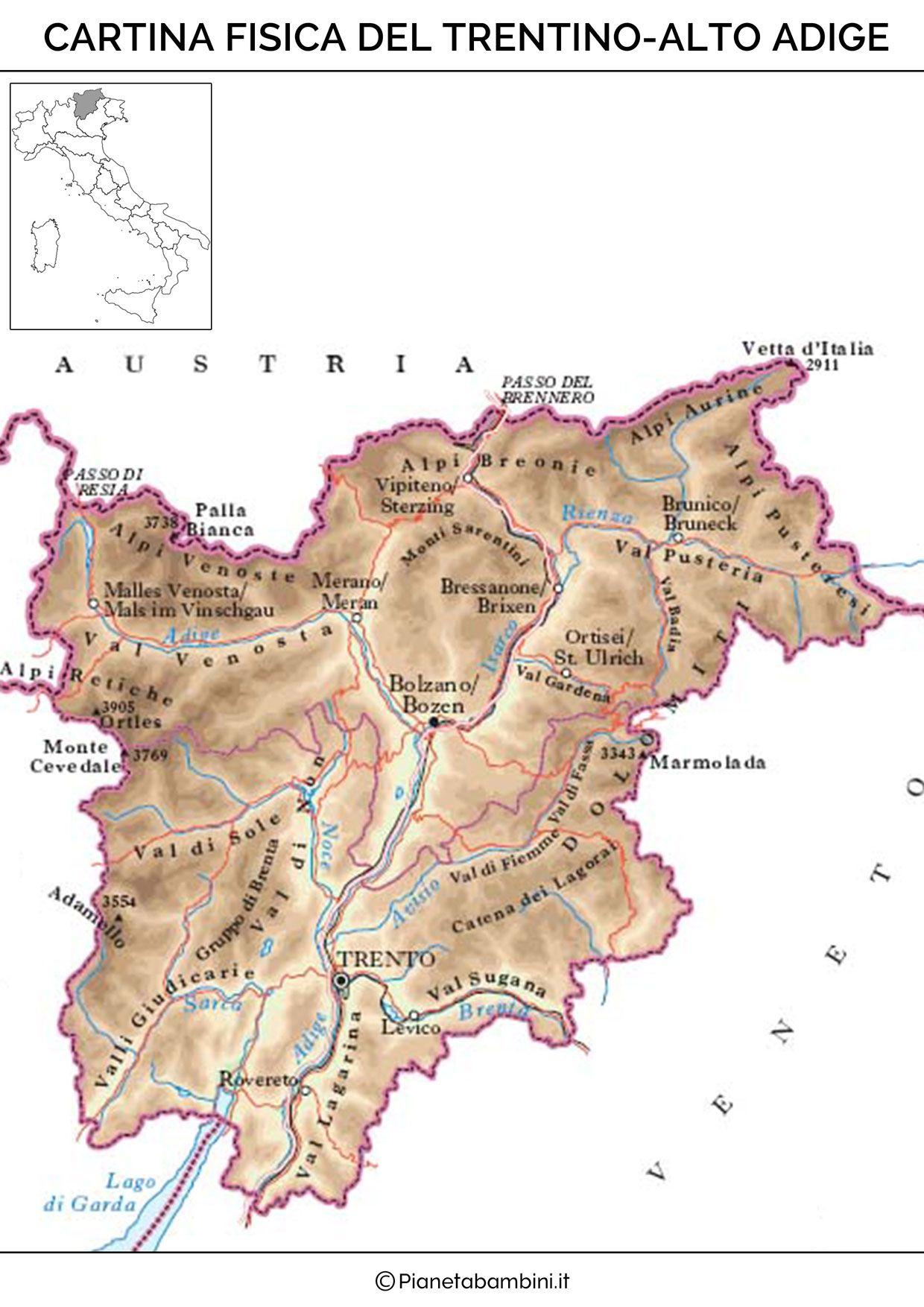 Fiumi Del Trentino Alto Adige Cartina.Cartina Fisica Trentino Alto Adige Alto Adige Geografia Mappa