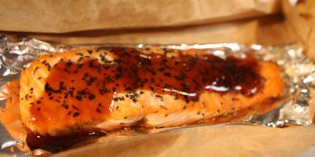 Photo of Teriyaki Salmon Filets in a Paperbag with Mixed Rice and Broccoli