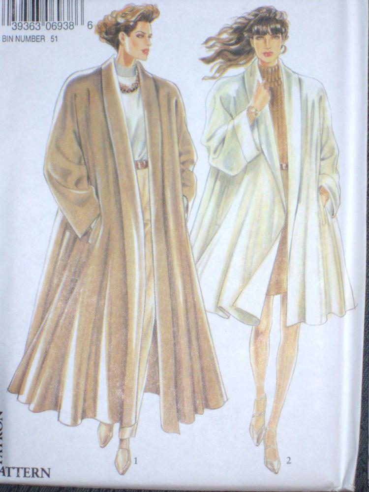 New Look 6938 Misses Elegant Coat Size 8 10 12 14 16 18 Long or Short Stylish…