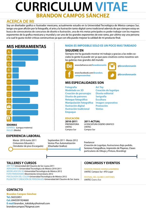 My infographic CV by Brandon Campos, via Behance Infographic - how to list software skills on resume