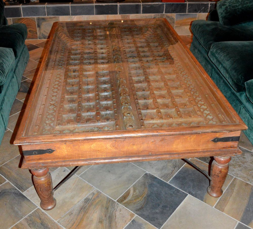 Arte De Mexico Old World Spanish Style Wooden Door With Glass Top Coffee  Table