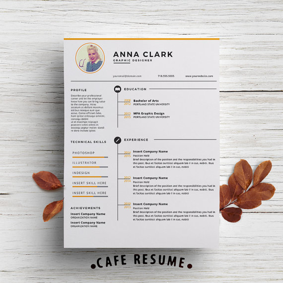 Resume Template Cover Letter Template for Word DIY by CafeResume - resume template with picture insert