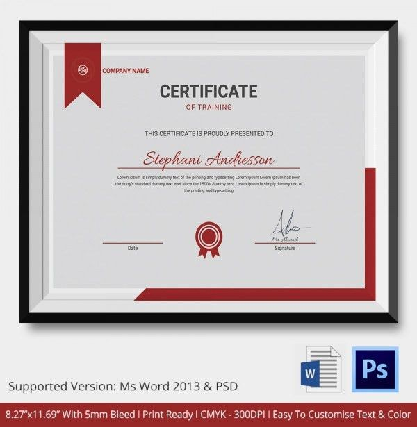 Training Certificate Template 14 Free Word Pdf Psd Format Template