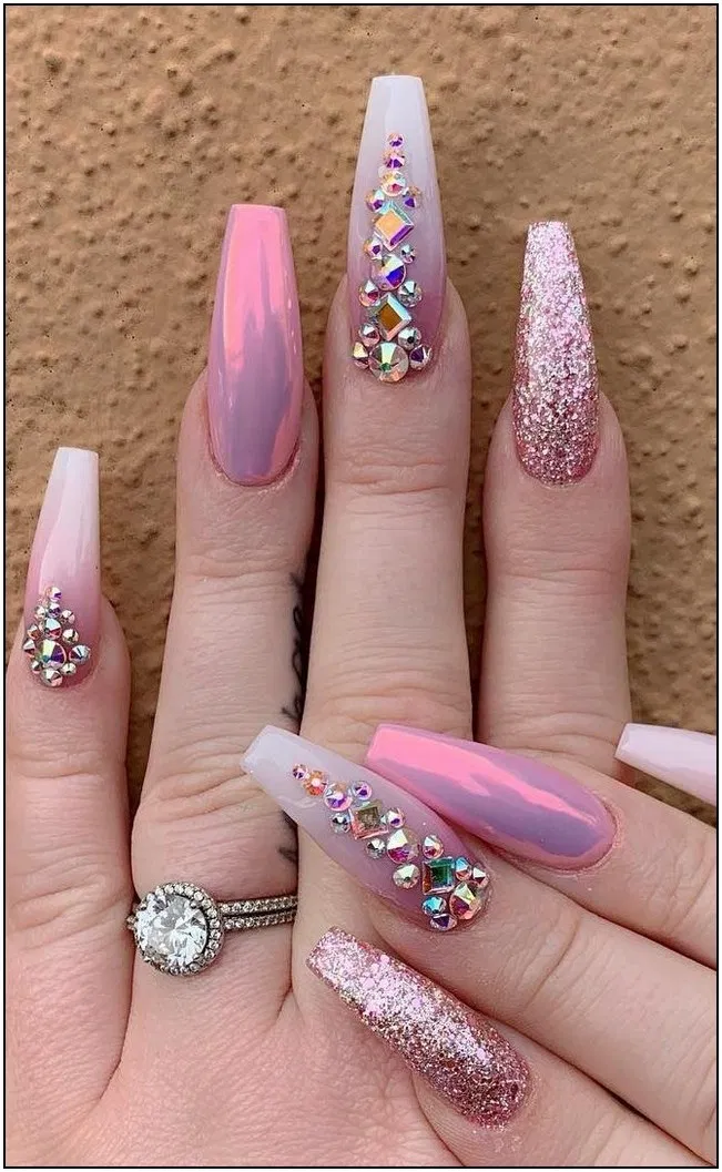 125 Trendy Spring Acrylic Coffin Nails Styles For Girls 57 Cynthiapina Me In 2020 Rhinestone Nails Nail Designs Summer Nails