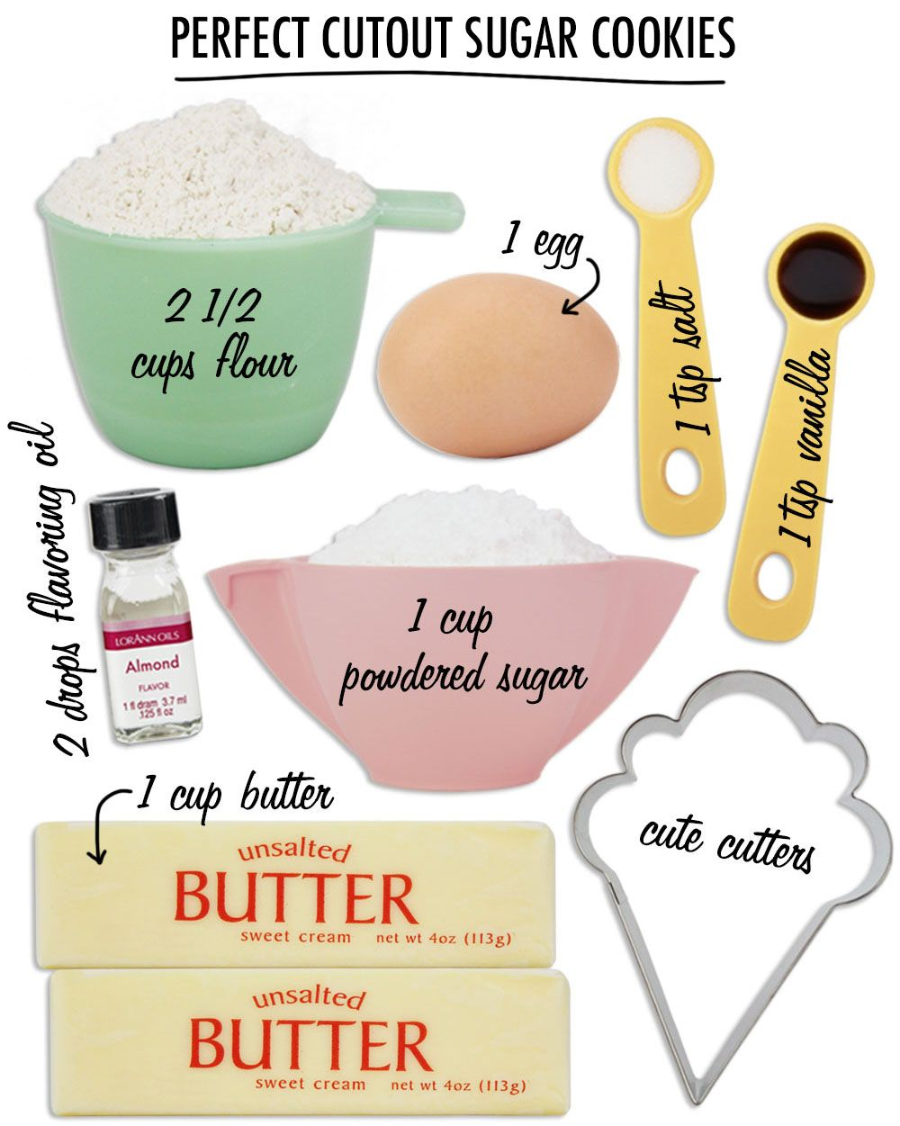 Perfect Cut Out Sugar Cookies Recipe |  www.LayerCakeShop.com